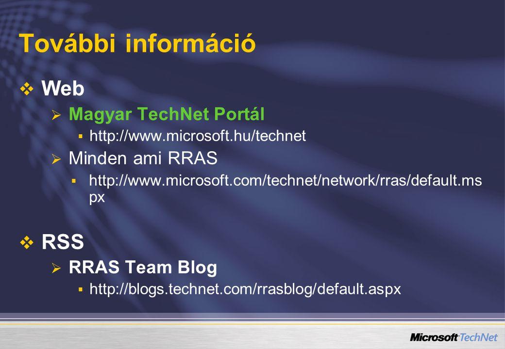 További információ Web RSS Magyar TechNet Portál Minden ami RRAS