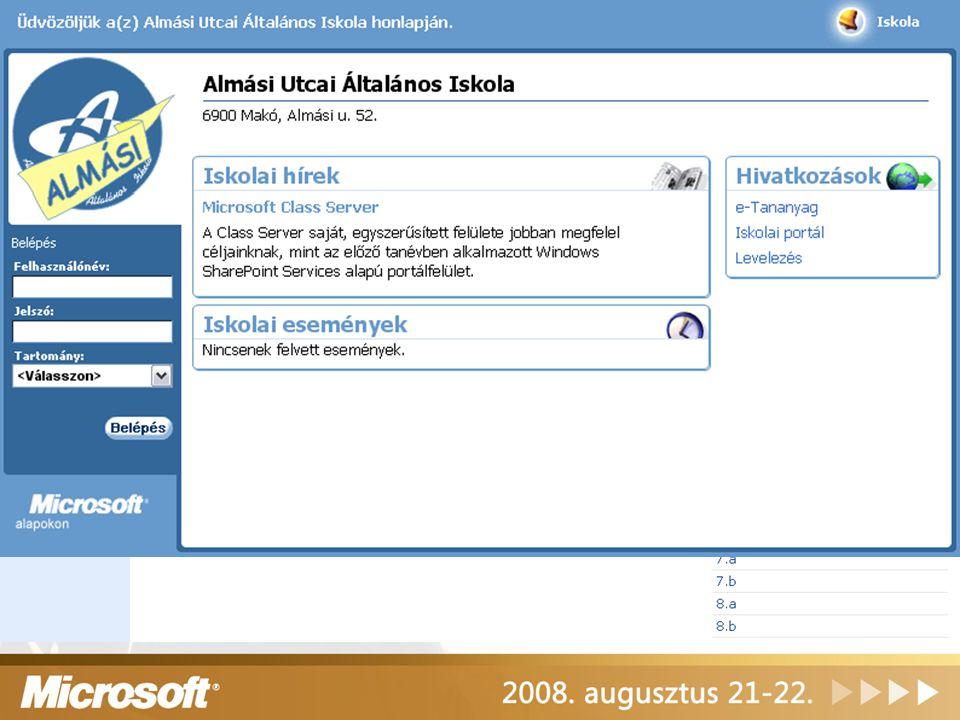 Class Server portál megjelenés A WSS felület kiegészítéseként