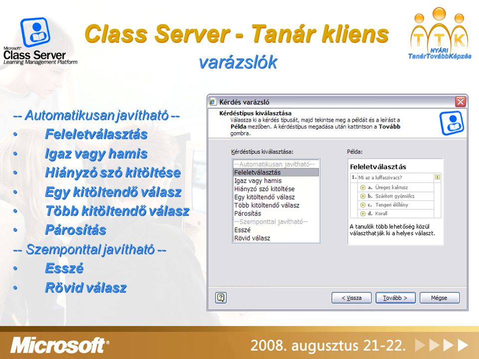 Class Server - Tanár kliens