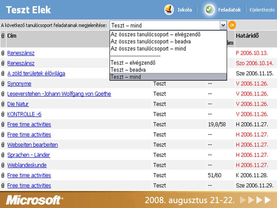 Class Server portál tanulói nézet felület feladatok kezelése