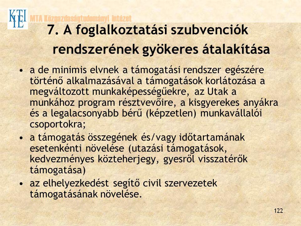 7. A foglalkoztatási szubvenciók rendszerének gyökeres átalakítása