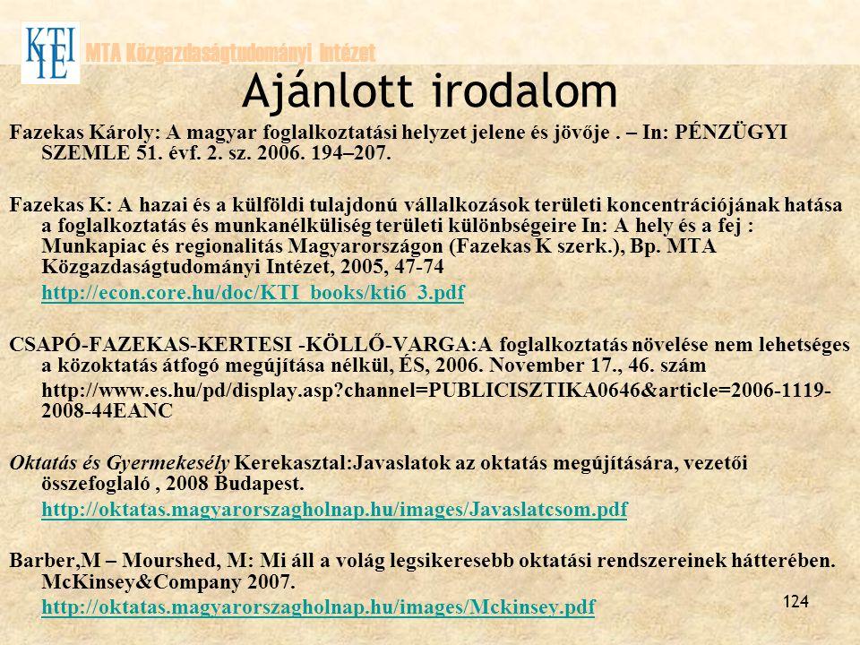 Ajánlott irodalom MTA Közgazdaságtudományi Intézet