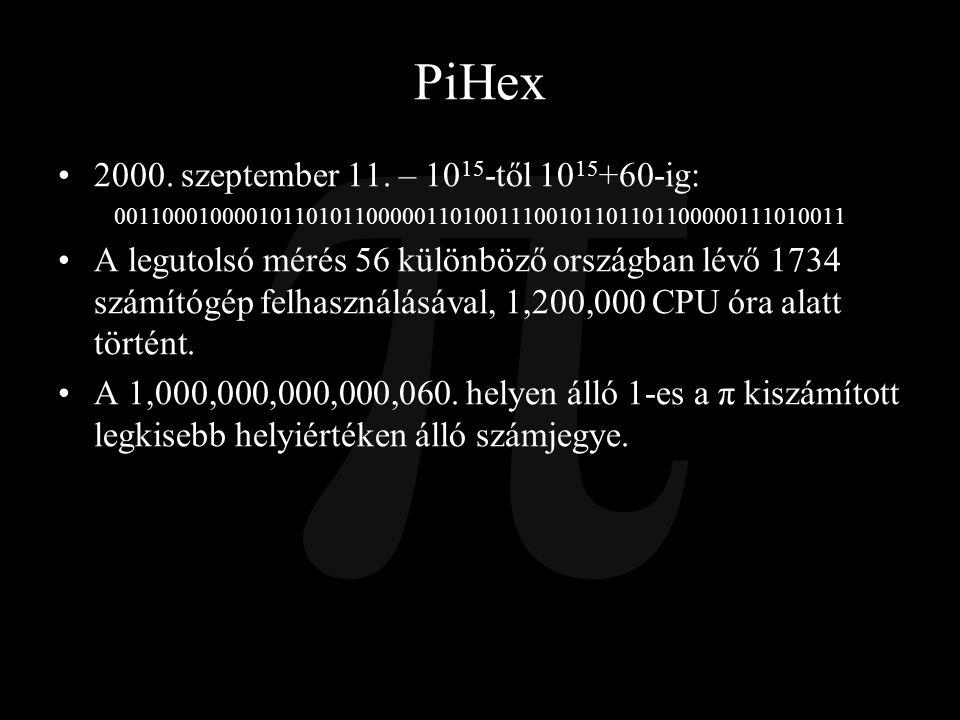 PiHex 2000. szeptember 11. – 1015-től 1015+60-ig: