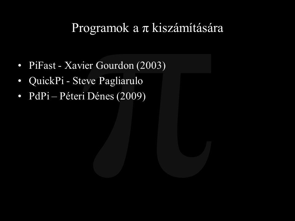 Programok a π kiszámítására
