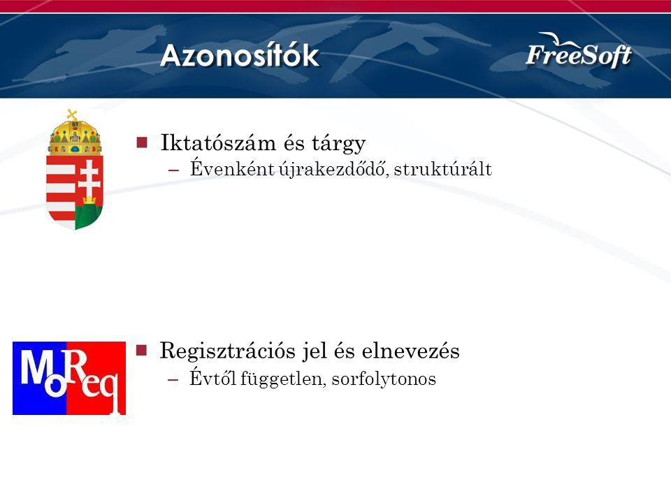 Azonosítók Iktatószám és tárgy Regisztrációs jel és elnevezés
