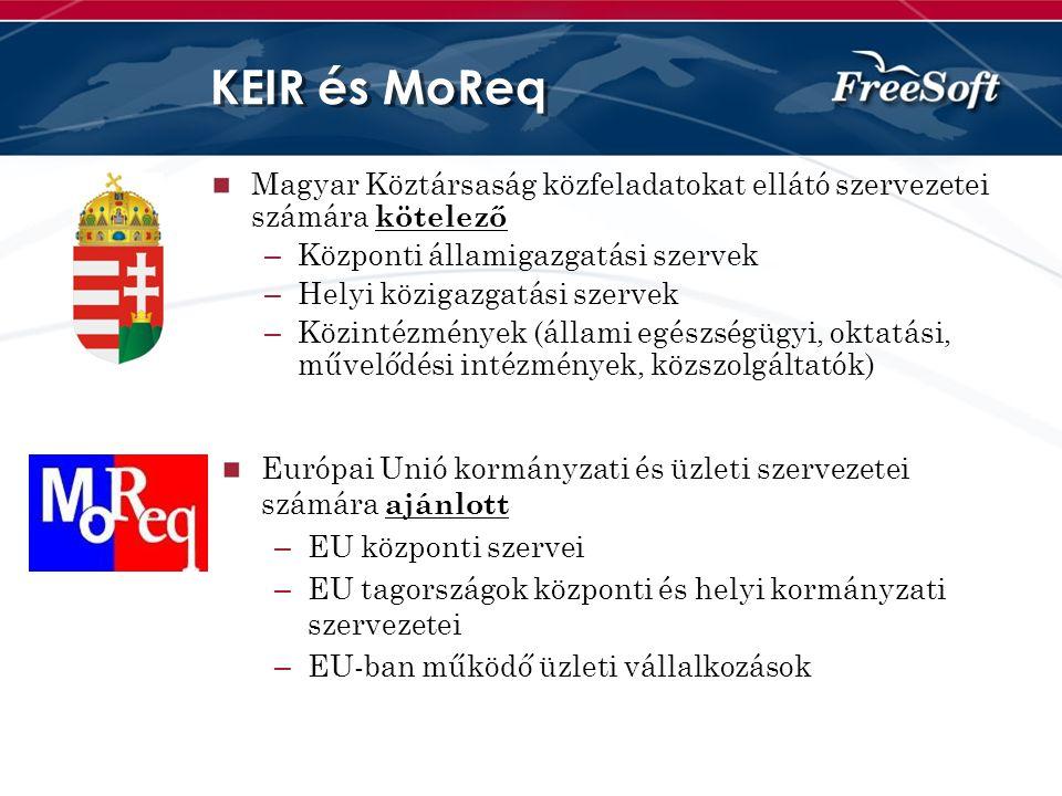 KEIR és MoReq Magyar Köztársaság közfeladatokat ellátó szervezetei számára kötelező. Központi államigazgatási szervek.