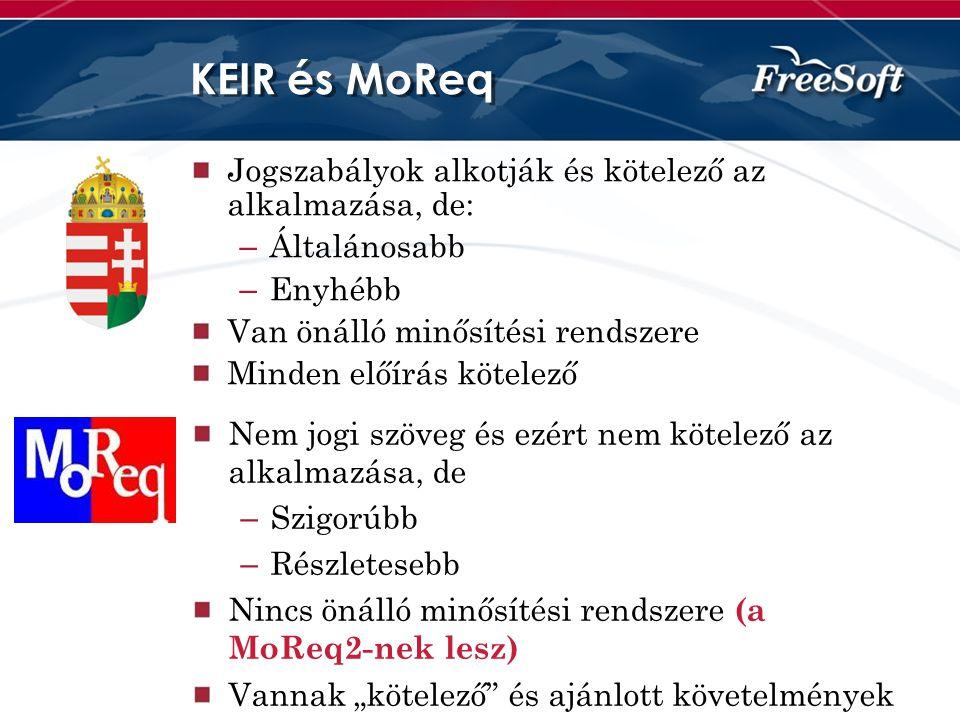 KEIR és MoReq Jogszabályok alkotják és kötelező az alkalmazása, de: