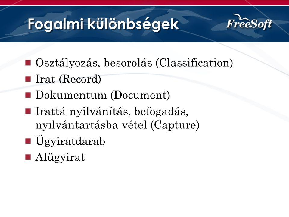 Fogalmi különbségek Osztályozás, besorolás (Classification)