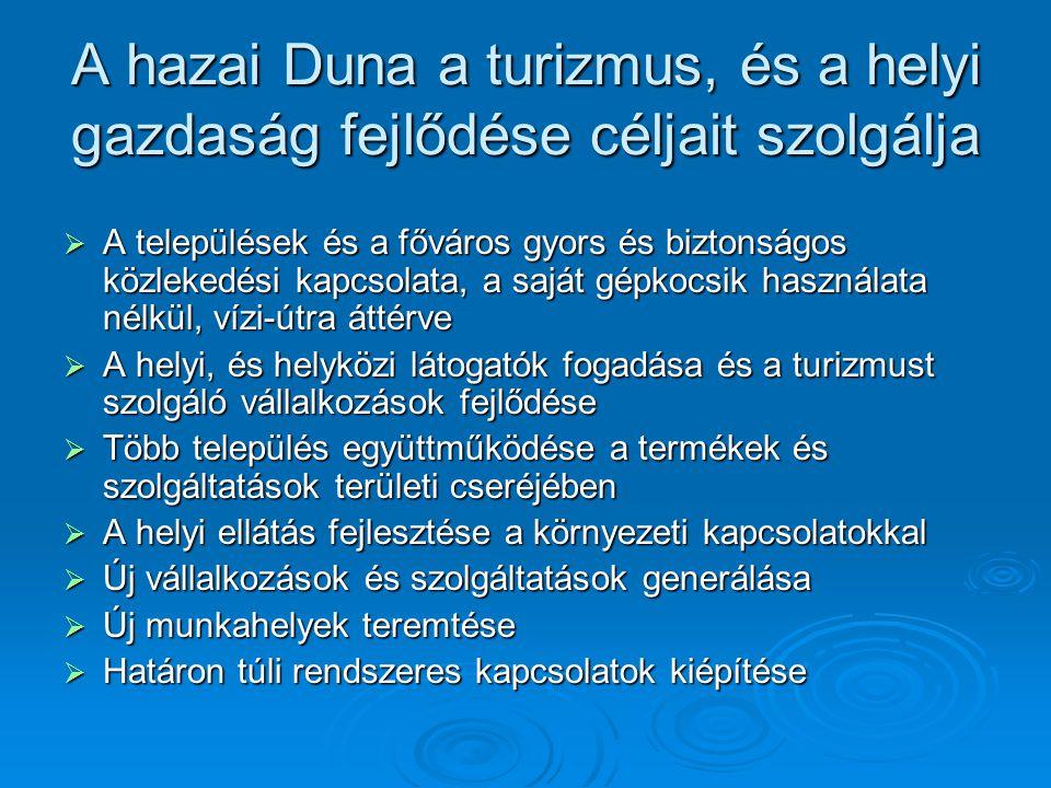 A hazai Duna a turizmus, és a helyi gazdaság fejlődése céljait szolgálja