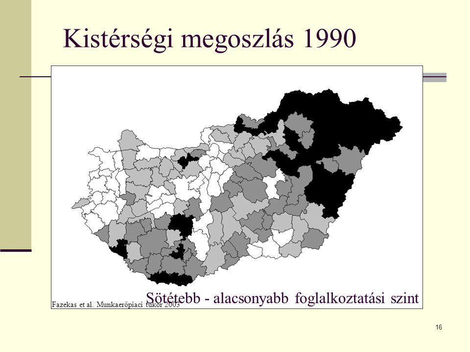 Kistérségi megoszlás 1990 Sötétebb - alacsonyabb foglalkoztatási szint