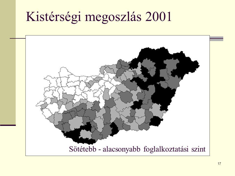 Kistérségi megoszlás 2001 Sötétebb - alacsonyabb foglalkoztatási szint