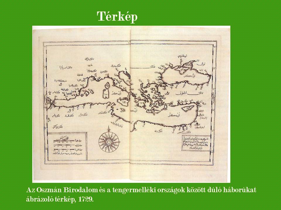 Térkép Az Oszmán Birodalom és a tengermelléki országok között dúló háborúkat ábrázoló térkép, 1729.