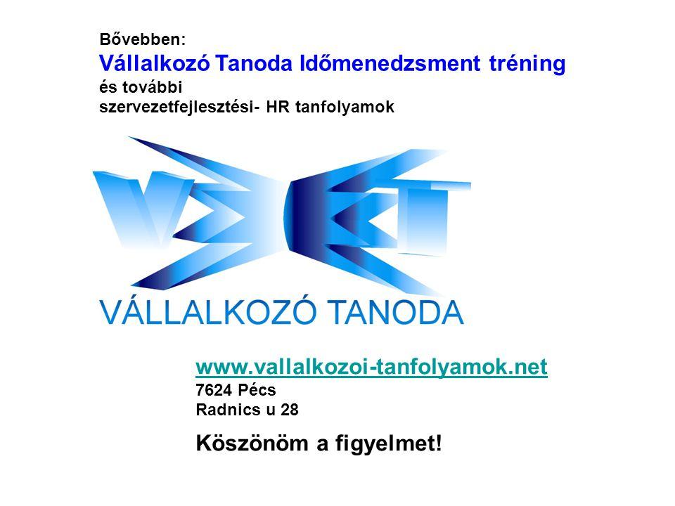 Bővebben: Vállalkozó Tanoda Időmenedzsment tréning és további szervezetfejlesztési- HR tanfolyamok.