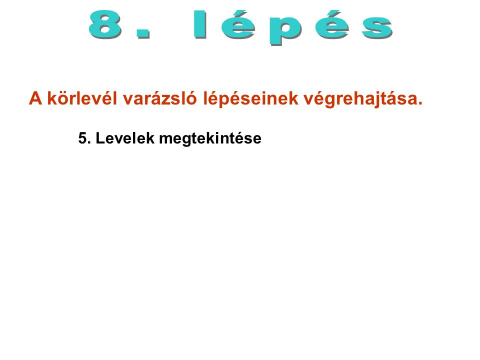 8. lépés A körlevél varázsló lépéseinek végrehajtása. 5. Levelek megtekintése