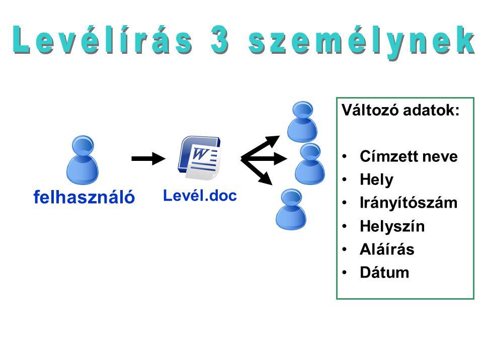 Levélírás 3 személynek felhasználó Változó adatok: Címzett neve Hely