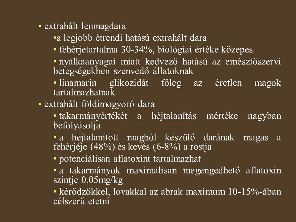 extrahált lenmagdara a legjobb étrendi hatású extrahált dara. fehérjetartalma 30-34%, biológiai értéke közepes.