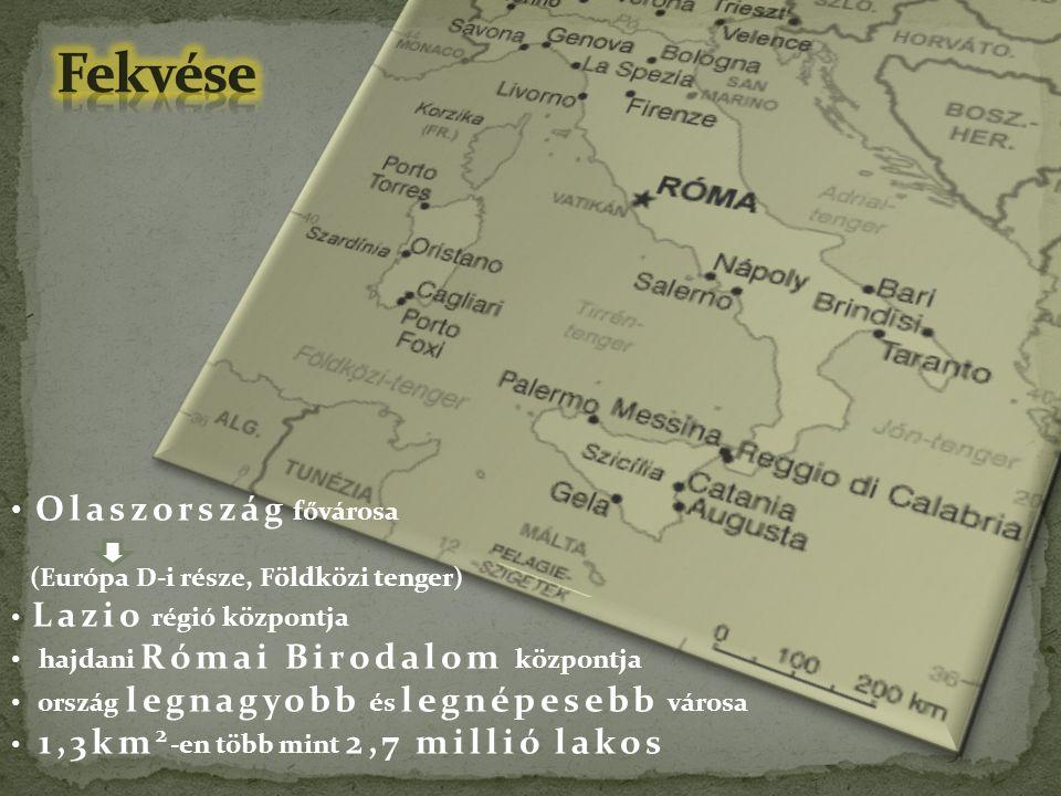 Fekvése Olaszország fővárosa (Európa D-i része, Földközi tenger)