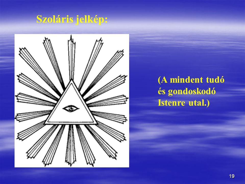 Szoláris jelkép: (A mindent tudó és gondoskodó Istenre utal.)