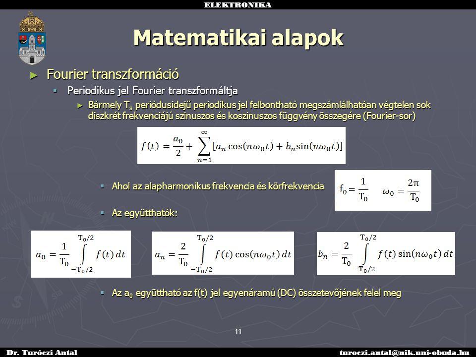 Matematikai alapok Fourier transzformáció