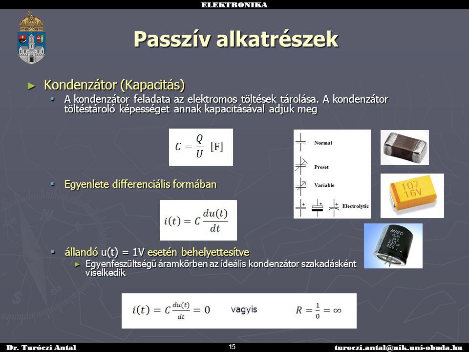 Passzív alkatrészek Kondenzátor (Kapacitás)