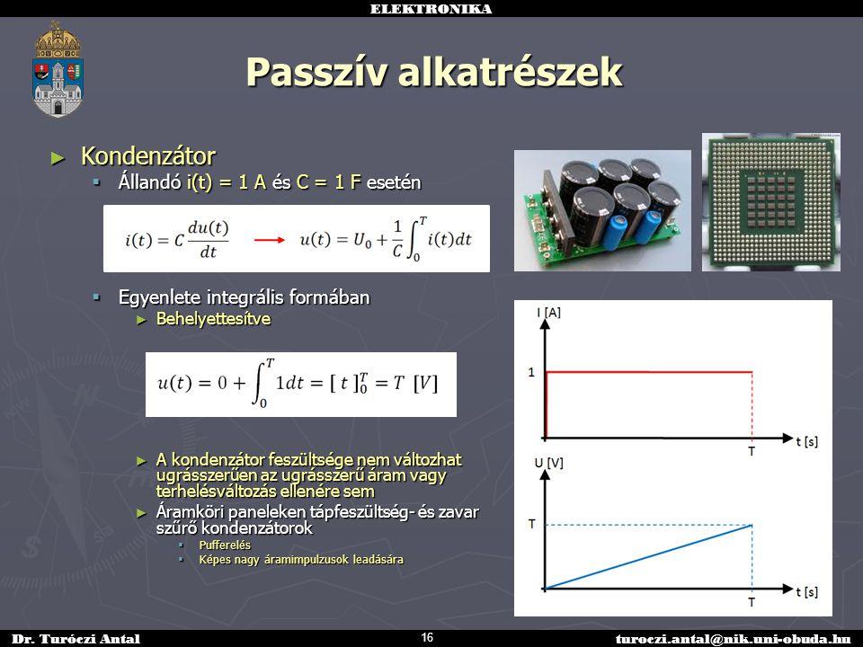 Passzív alkatrészek Kondenzátor Állandó i(t) = 1 A és C = 1 F esetén