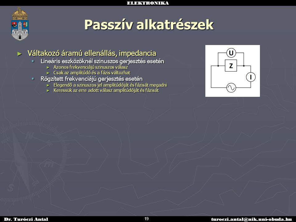 Passzív alkatrészek Váltakozó áramú ellenállás, impedancia