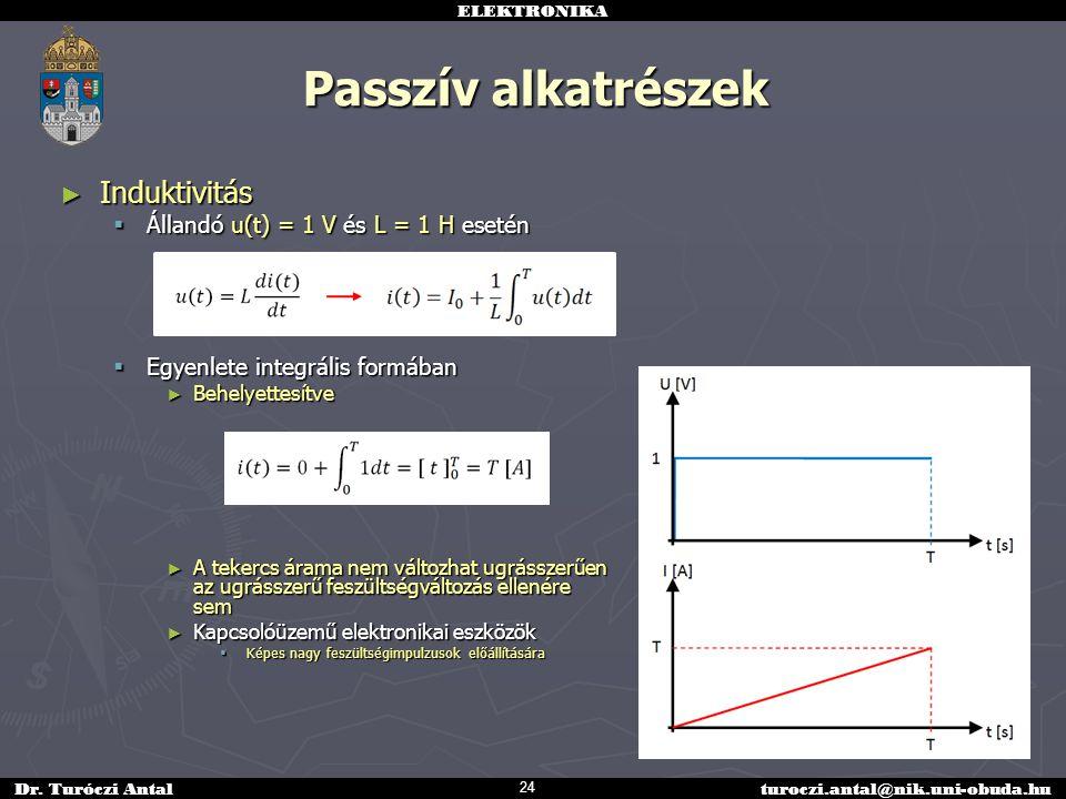 Passzív alkatrészek Induktivitás Állandó u(t) = 1 V és L = 1 H esetén