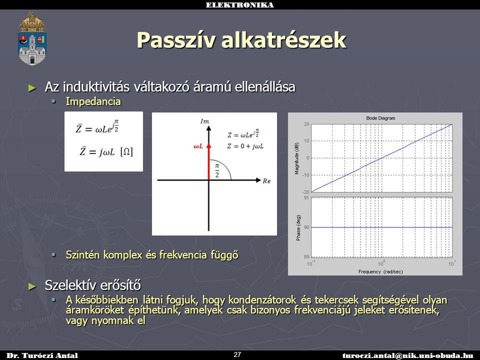 Passzív alkatrészek Az induktivitás váltakozó áramú ellenállása