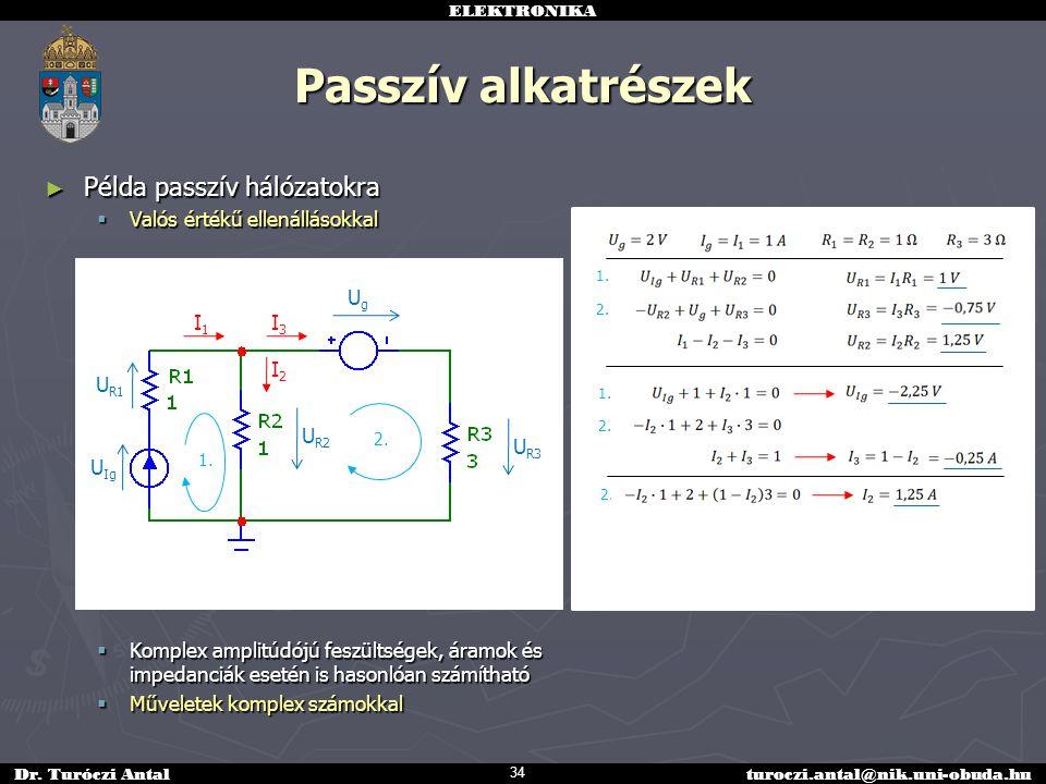 Passzív alkatrészek Példa passzív hálózatokra