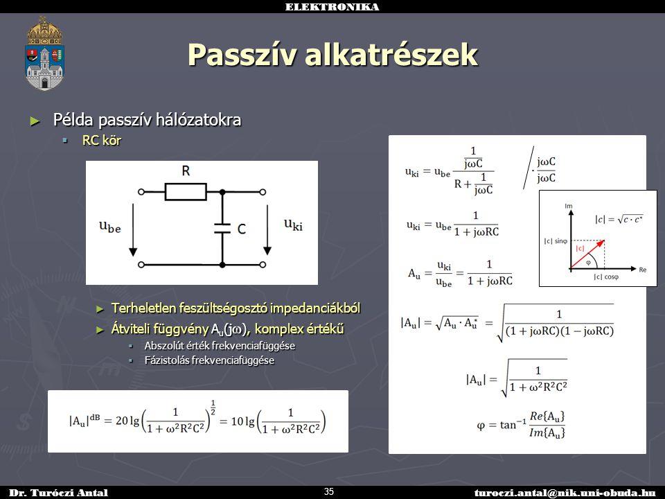 Passzív alkatrészek Példa passzív hálózatokra RC kör