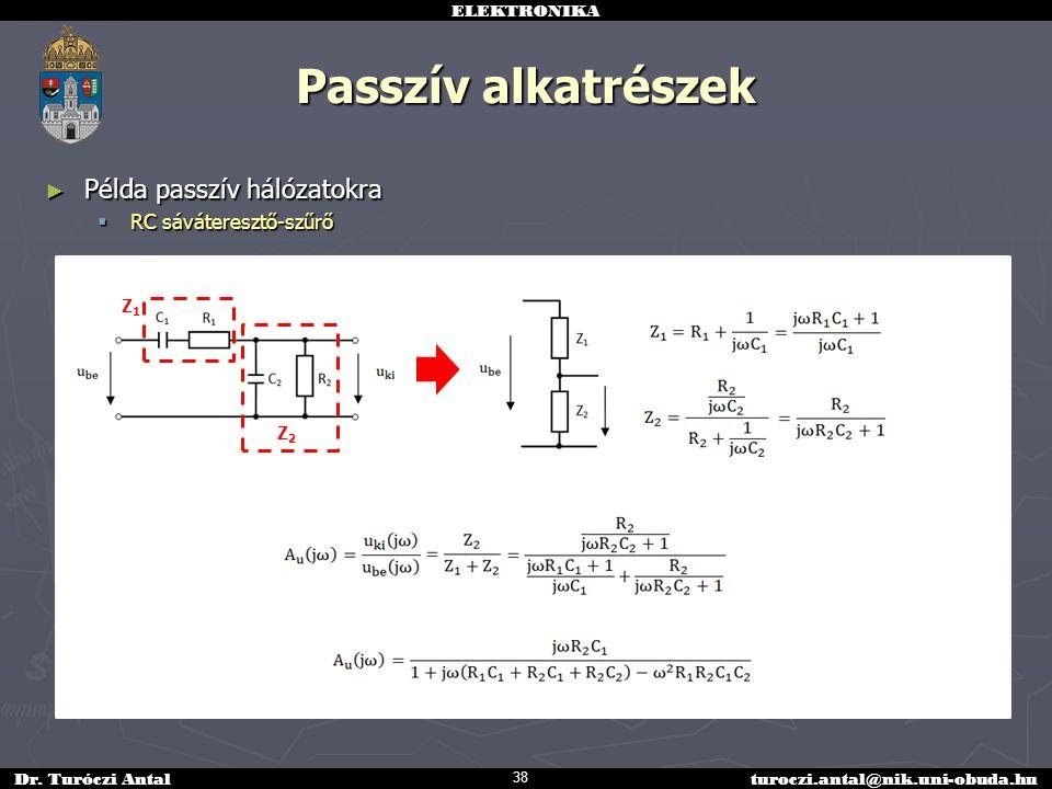 Passzív alkatrészek Példa passzív hálózatokra RC sáváteresztő-szűrő Z1
