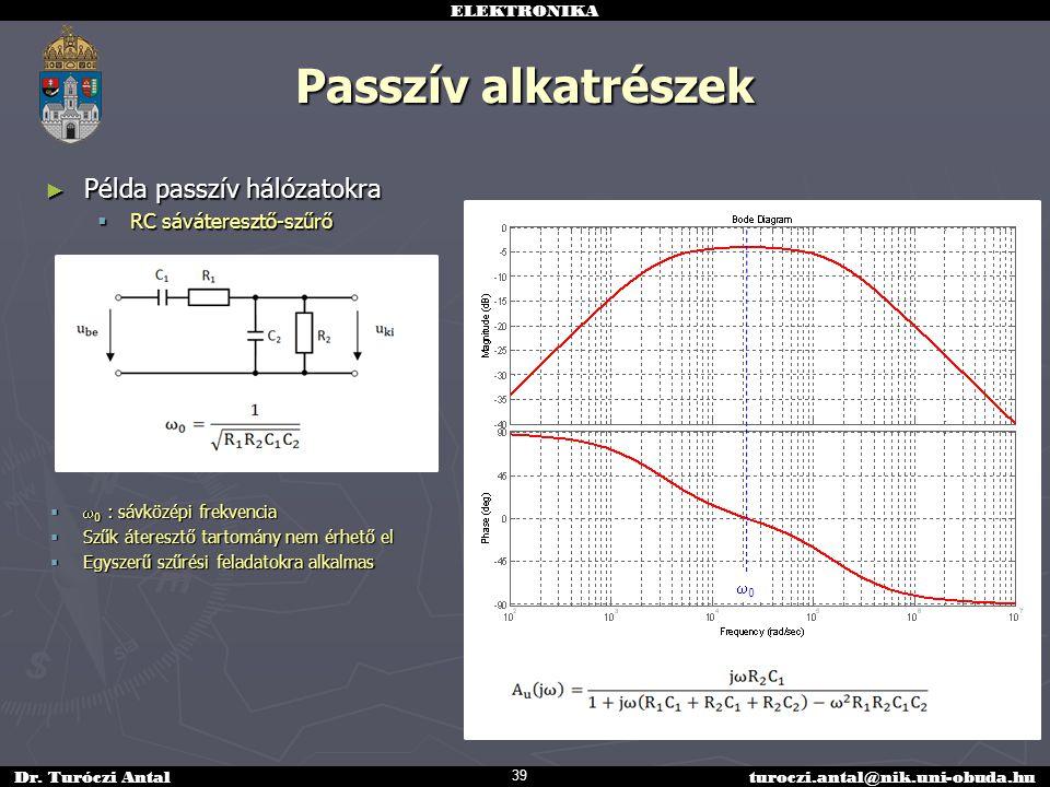 Passzív alkatrészek Példa passzív hálózatokra RC sáváteresztő-szűrő