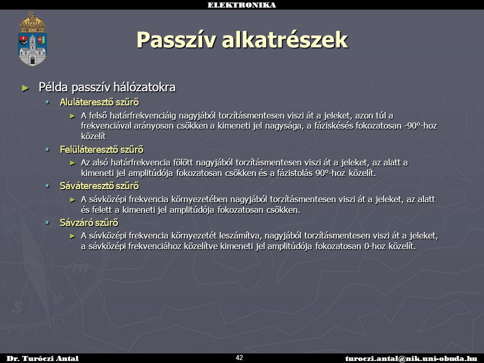 Passzív alkatrészek Példa passzív hálózatokra Aluláteresztő szűrő