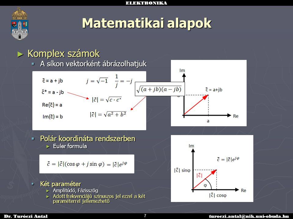 Matematikai alapok Komplex számok A síkon vektorként ábrázolhatjuk