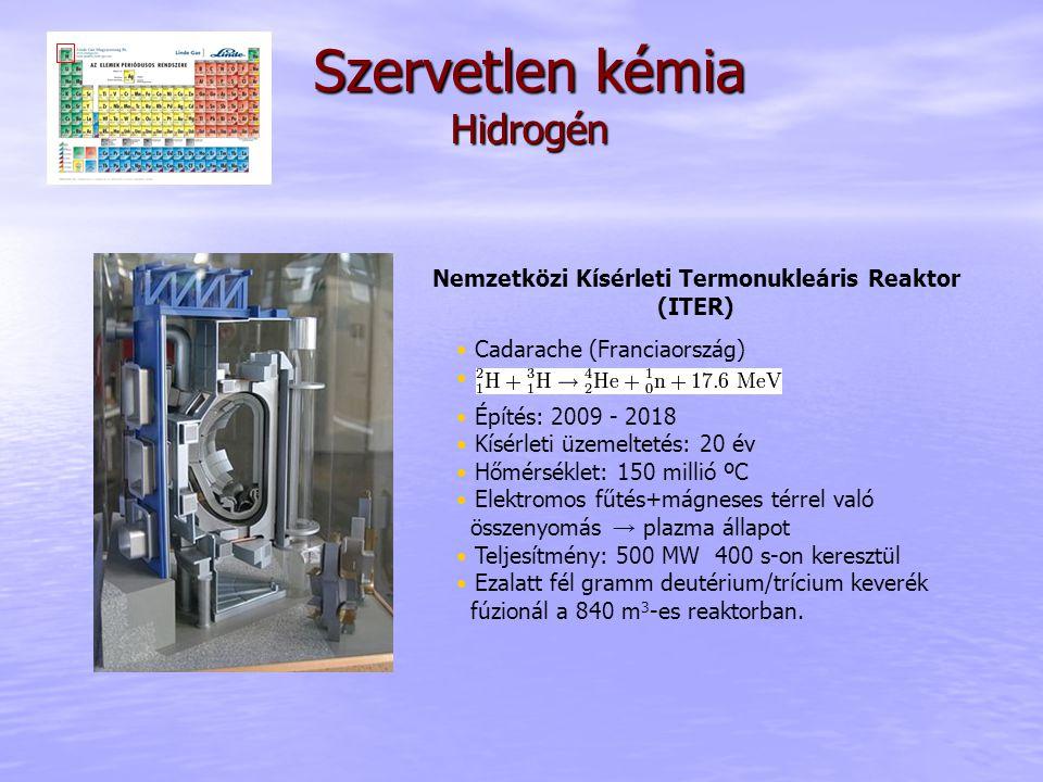 Szervetlen kémia Hidrogén