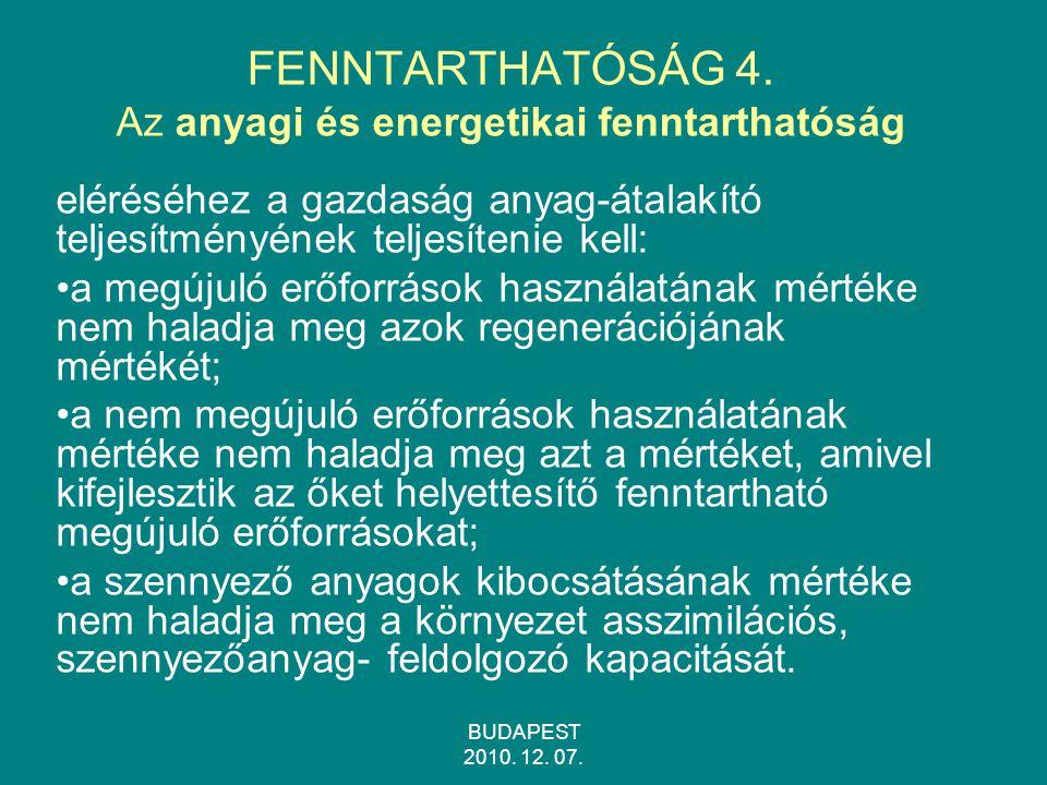 FENNTARTHATÓSÁG 4. Az anyagi és energetikai fenntarthatóság