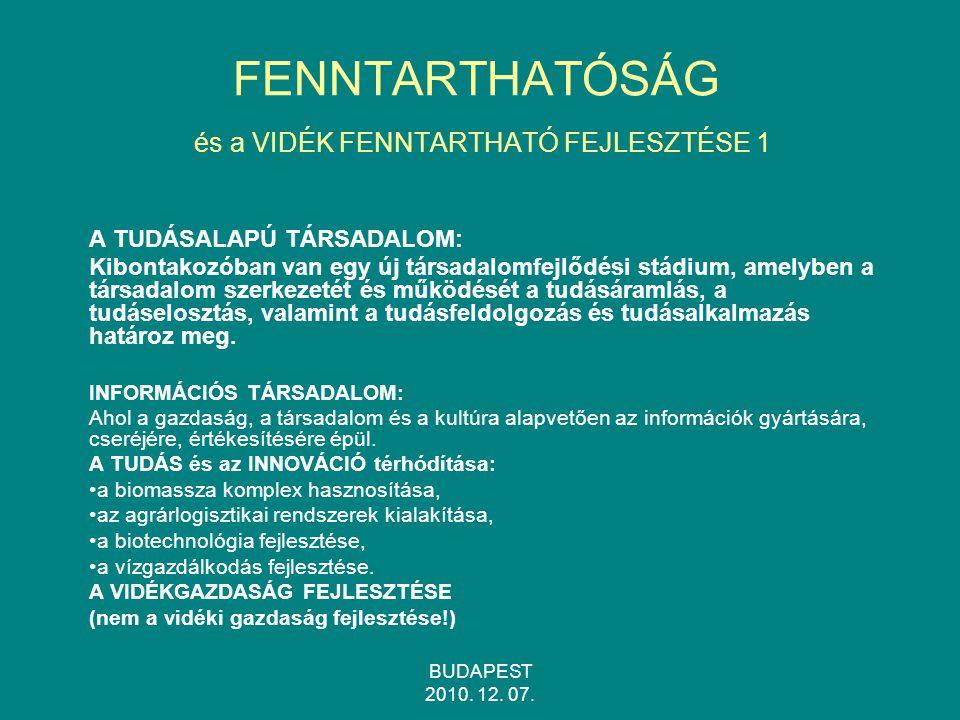FENNTARTHATÓSÁG és a VIDÉK FENNTARTHATÓ FEJLESZTÉSE 1