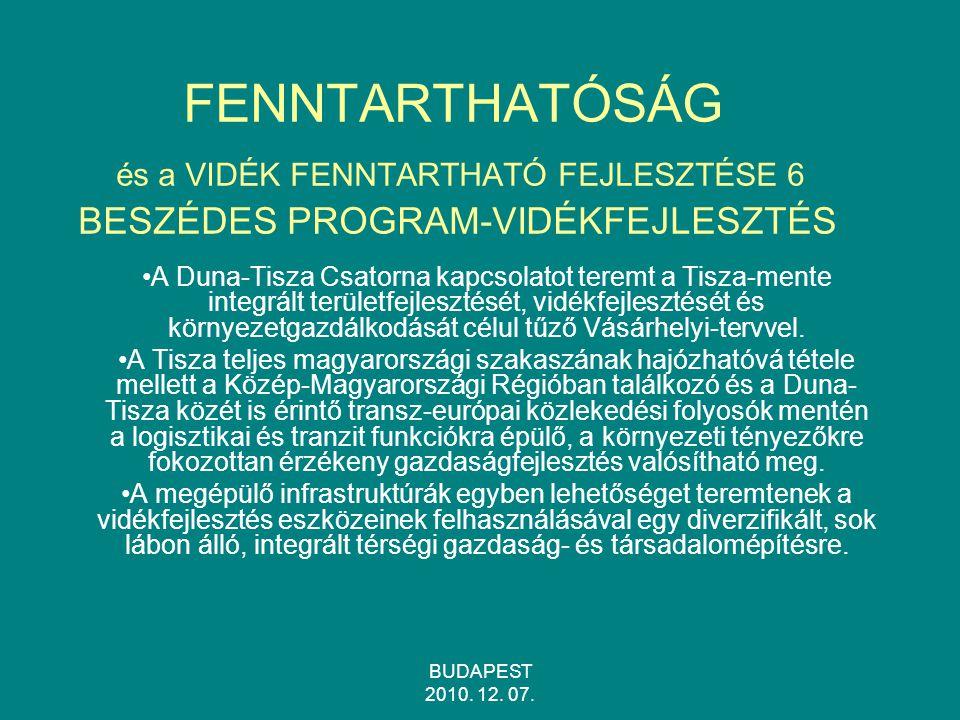 FENNTARTHATÓSÁG és a VIDÉK FENNTARTHATÓ FEJLESZTÉSE 6 BESZÉDES PROGRAM-VIDÉKFEJLESZTÉS