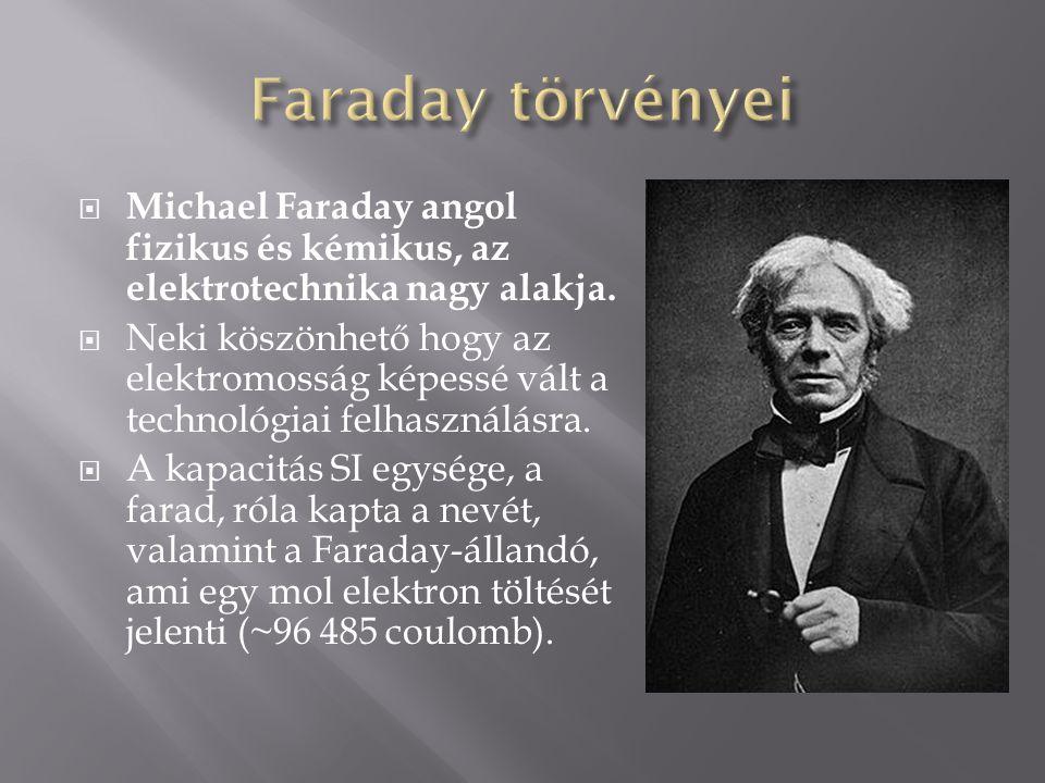 Faraday törvényei Michael Faraday angol fizikus és kémikus, az elektrotechnika nagy alakja.