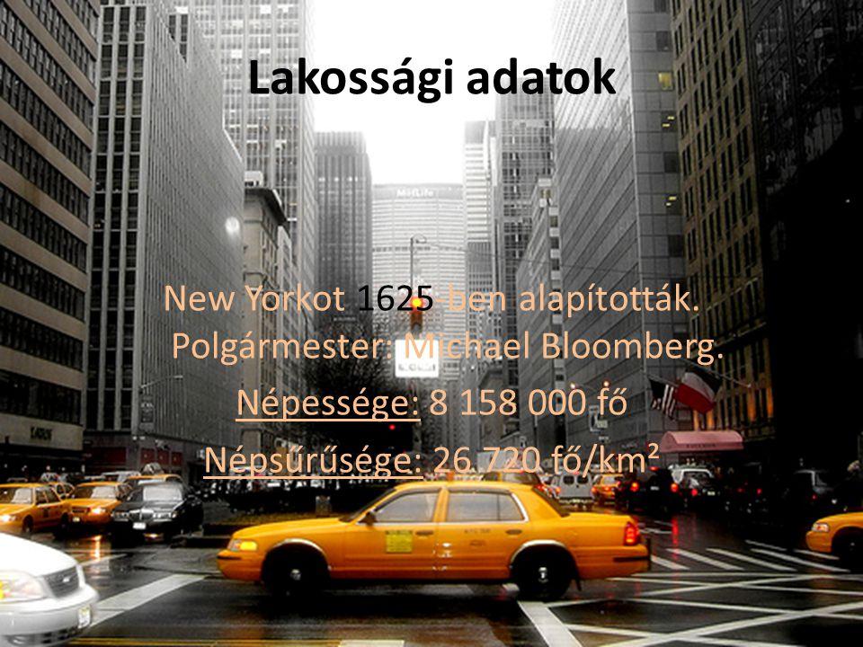 Lakossági adatok New Yorkot 1625-ben alapították. Polgármester: Michael Bloomberg.