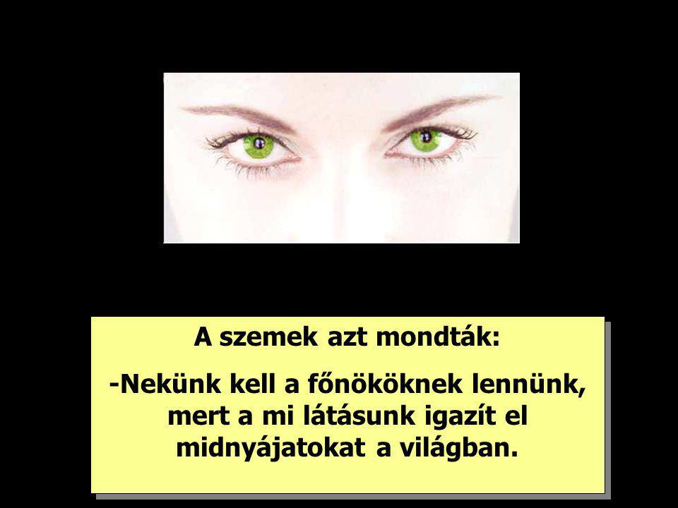 A szemek azt mondták: -Nekünk kell a főnököknek lennünk, mert a mi látásunk igazít el midnyájatokat a világban.