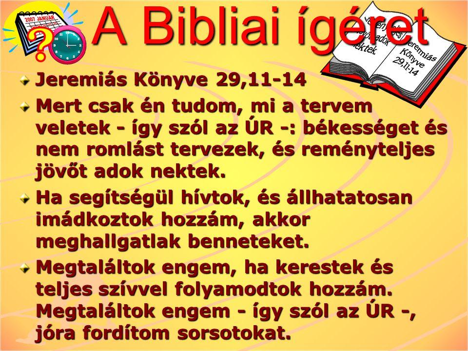 A Bibliai ígéret Jeremiás Könyve 29,11-14