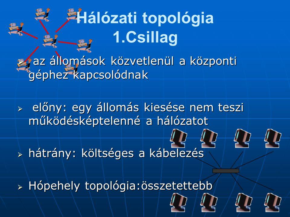 Hálózati topológia 1.Csillag