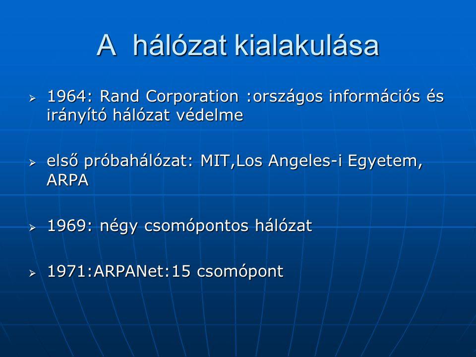 A hálózat kialakulása 1964: Rand Corporation :országos információs és irányító hálózat védelme. első próbahálózat: MIT,Los Angeles-i Egyetem, ARPA.