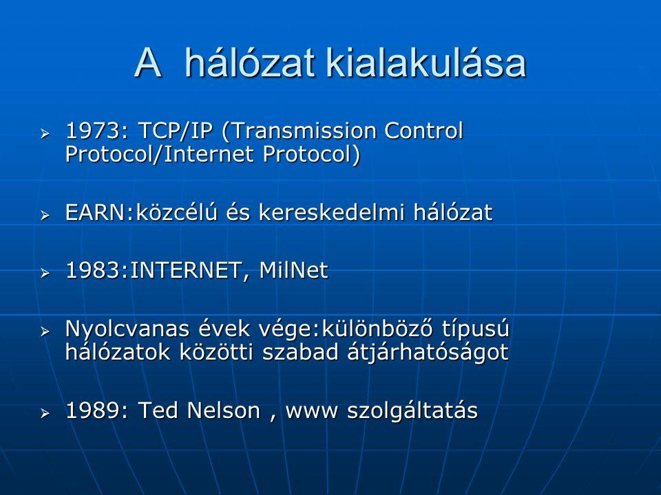 A hálózat kialakulása 1973: TCP/IP (Transmission Control Protocol/Internet Protocol) EARN:közcélú és kereskedelmi hálózat.