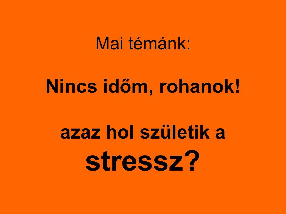 Mai témánk: Nincs időm, rohanok! azaz hol születik a stressz