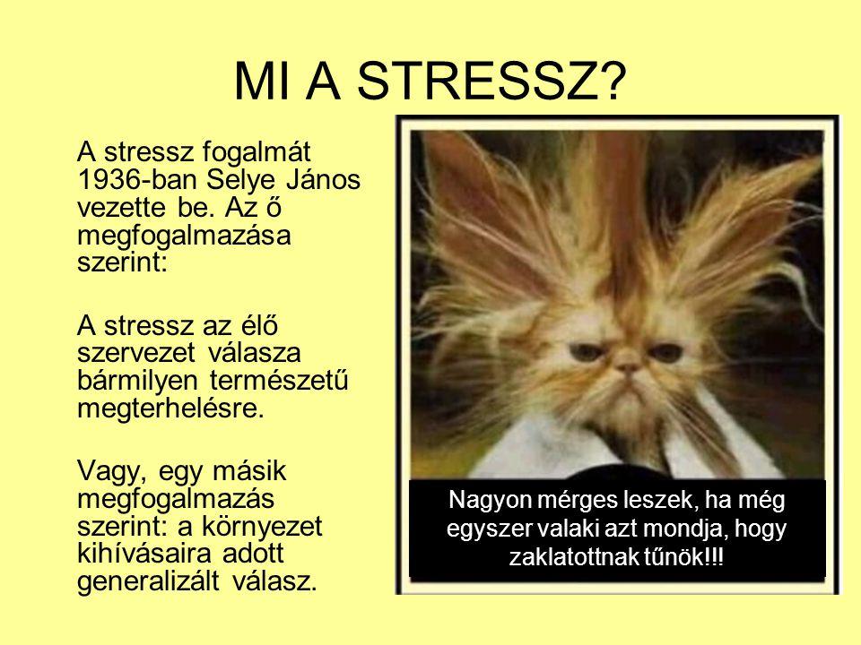 MI A STRESSZ A stressz fogalmát 1936-ban Selye János vezette be. Az ő megfogalmazása szerint: