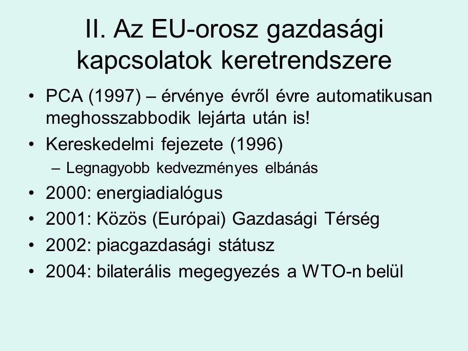 II. Az EU-orosz gazdasági kapcsolatok keretrendszere