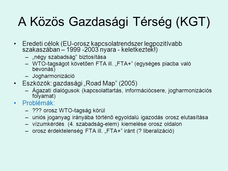 A Közös Gazdasági Térség (KGT)