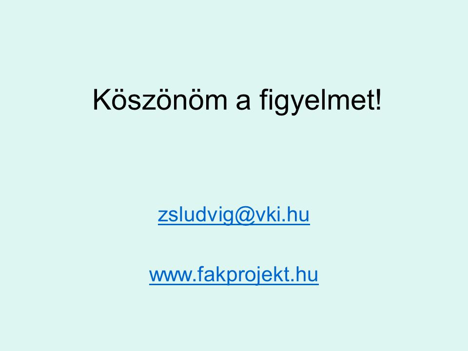 zsludvig@vki.hu www.fakprojekt.hu